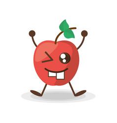 kawaii apple fruit healt vector image