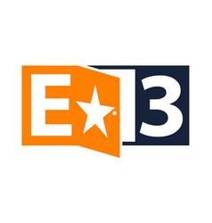 letter e 3 logo design template vector image