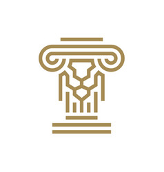 Lion pillar law ionic column logo icon vector