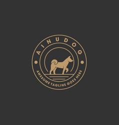 Logo ainu dog elegant vintage badge vector