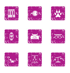 medical rest icons set grunge style vector image