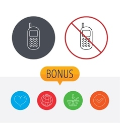 Mobile phone icon Cellphone with antenna sign vector image