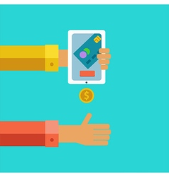 Pay and receive money using mobile devices vector