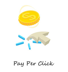 pay per click icon isometric 3d style vector image