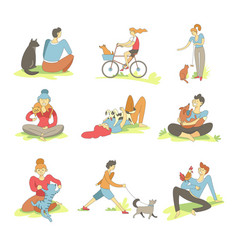people spending time with pets on nature set vector image