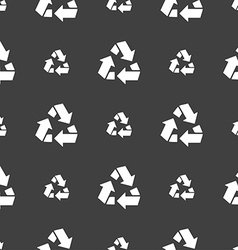 Recycle icon sign Seamless pattern on a gray vector