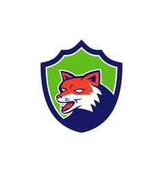 Red Fox Head Growling Shield Retro vector image