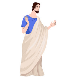 Roman empire man wearing traditional rome clothes vector