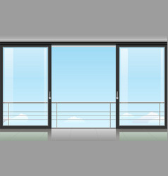 Room with a sliding door vector