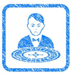 Roulette croupier framed stamp vector