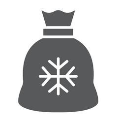 santa bag gyph icon christmas and holiday vector image