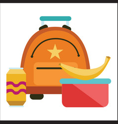 school lunchtime poster schoolbag lunchbox banana vector image