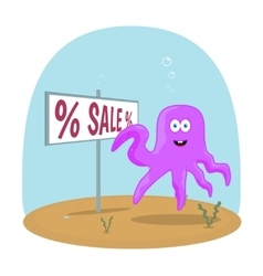 Sea Octopus standing in ocean and showing on sign vector