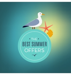 seagull on the sign best summer offer vector image