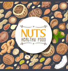 Seamless background with colored nuts and seeds vector