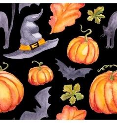 Seamless pattern wirh watercolor pumpkins hat abd vector
