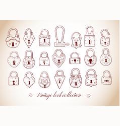 set doodle vintage locks sketch vector image