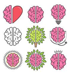 set flat design colored brain symbols vector image