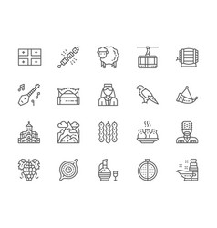 Set georgian culture line icons people in vector