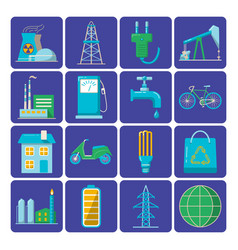 set of energy and ecology flat icons vector image
