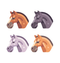 set of horse heads of different color vector image