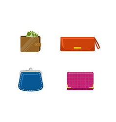 Set of purses and wallets with mone set of vector