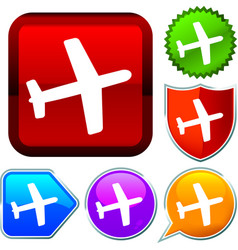 Set shiny icon series on buttons airplane vector