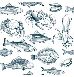 sketch seafood seamless pattern oyster salmon vector image