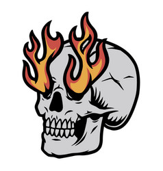 skull with fire from eye sockets vector image