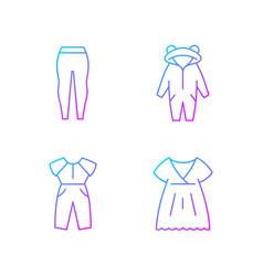 Sleepwear gradient linear icons set vector