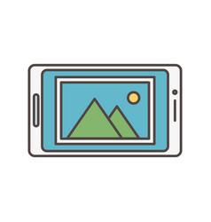 smartphone picture album social media icon vector image