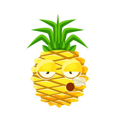 smoking pineapple emoticon cute cartoon emoji vector image