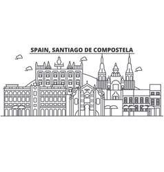 Spain santiago de compostela architecture line vector