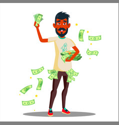 student with a lot of money in hands vector image