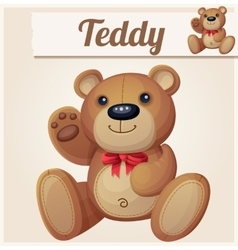 Teddy bear with red bow waves the paw vector image