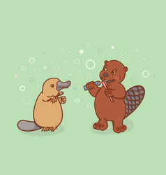 the beaver and the platypus are brushing their vector image