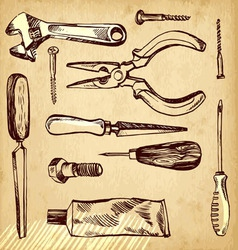 Tools scetch set on paper background vector