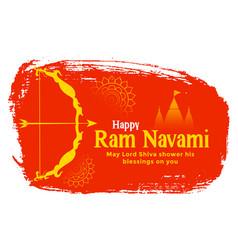 Traditional happy ram navami festival card design vector