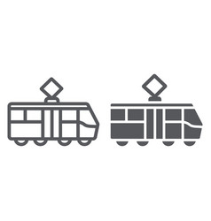 tram line and glyph icon transportation and vector image
