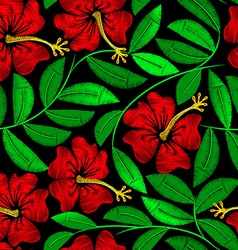 Tropical embroidery hibiscus plant in a seamless vector