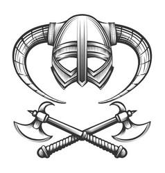 Viking helmet with axes vector