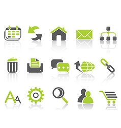 Web internet icons green series vector