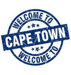 Welcome to cape town blue stamp vector