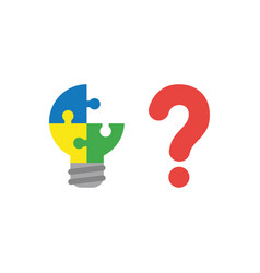 flat design style concept of puzzle light bulb vector image