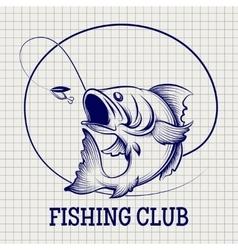 Hand drawn fishing club logo vector image vector image