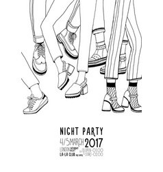 night party hand drawn contour poster with dancing vector image