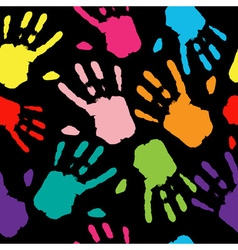 Seamless Pattern Hand Colorful Prints vector image
