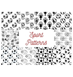 Sport seamless patterns with soccer balls vector image vector image