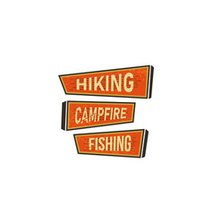 vintage hand drawn camping signs travel badges - vector image vector image