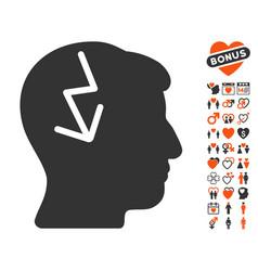 brain electric strike icon with love bonus vector image vector image